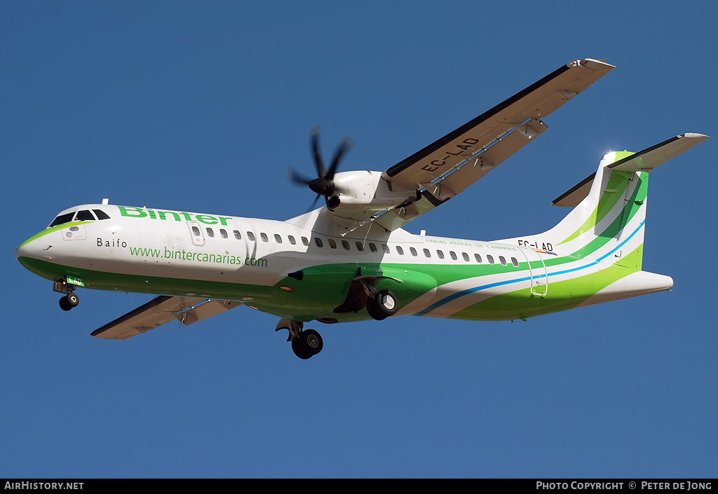 Aircraft Photo of EC-LAD | ATR ATR-72-500 (ATR-72-212A) | Binter Canarias | AirHistory.net #5900