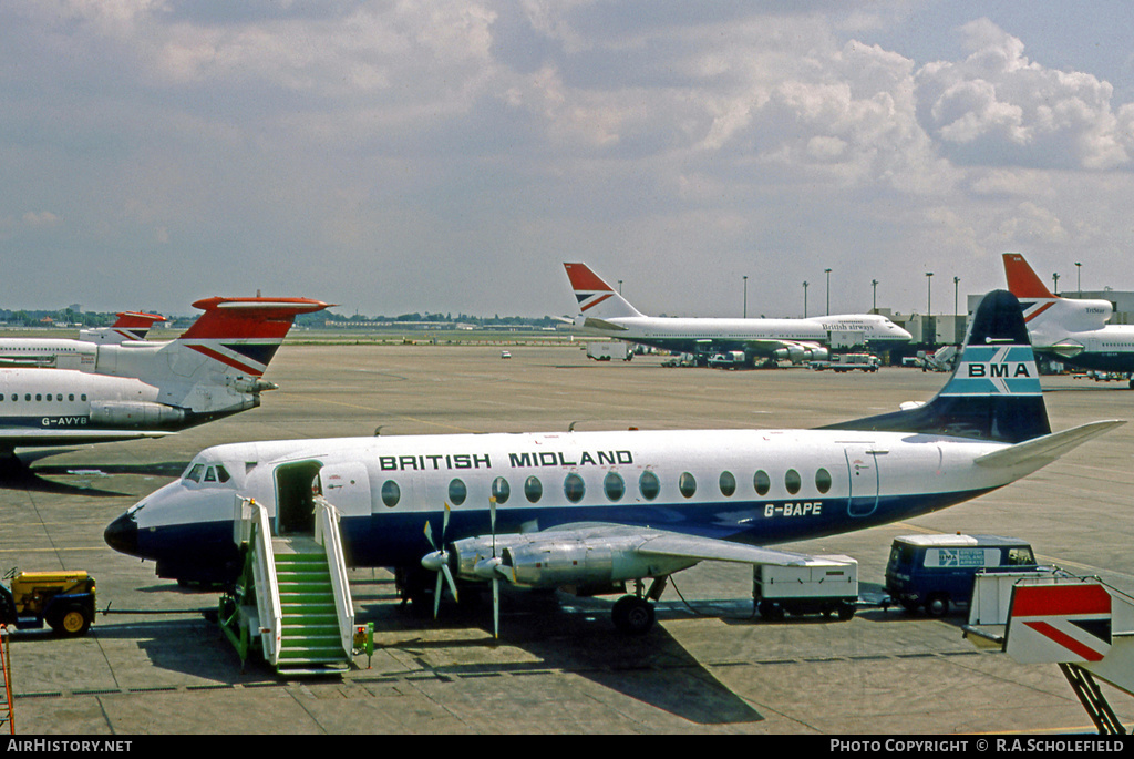 Aircraft Photo of G-BAPE | Vickers 814 Viscount | British Midland Airways - BMA | AirHistory.net #8618