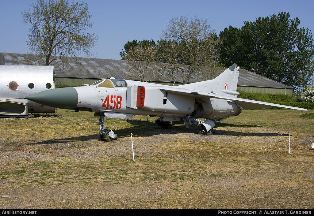 Aircraft Photo of 458 | Mikoyan-Gurevich MiG-23ML | Poland - Air Force | AirHistory.net #56095