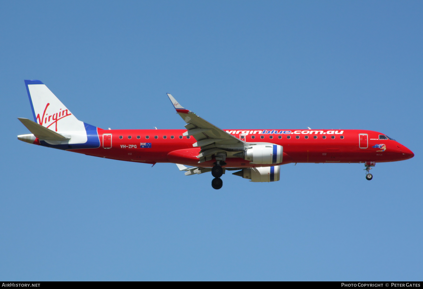 Aircraft Photo of VH-ZPG | Embraer 190AR (ERJ-190-100IGW) | Virgin Blue Airlines | AirHistory.net #58315