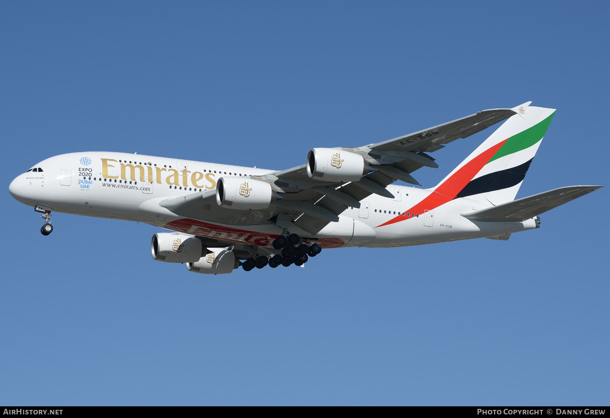 Aircraft Photo of A6-EON | Airbus A380-861 | Emirates | AirHistory.net #202560
