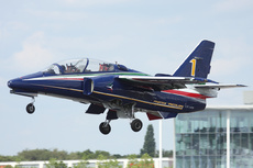 Aircraft photo of CPX619 / 1 - Alenia Aermacchi M-345 - Italy - Air Force, taken by Mick Bajcar at Farnborough (EGLF / FAB) in England, United Kingdom on 15 July 2014 during the Farnborough International 2014. This aircraft will re-equip Frecce Tricolori in the near future and carries their livery. I look forward to seeing them with this new type