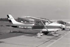 Aircraft photo of VH-PLF - Cessna 182H Skylane - Flick Pest Control, taken by David Carter at Sydney - Bankstown (YSBK / BWU) in New South Wales, Australia in October 1969. VH-PLF was wrecked when it overran the runway at Bridgewater, Victoria.
