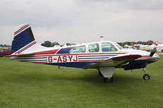 Aircraft photo of G-ASYJ - Beech D95A Travel Air, taken by Mick Bajcar at Northampton - Sywell (EGBK / ORM) in England, United Kingdom on 30 May 2014 during the AeroExpo 2014.