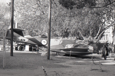 Aircraft photo of A77-878 - Gloster Meteor F8 - Australia - Air Force, taken by David Carter at Sydney / Hyde Park [ Off-Airport ] in New South Wales, Australia in October 1969. A77-878 was delivered to the RAAF in 1953 and became an instructional airframe at RAAF Forest Hill in 1957. Passed to the Air Training Corps at Bankstown in 1966. -878 was exhibited in Hyde Park Sydne...