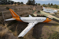 Aircraft photo of HC-CFD - Boeing 737-236/Adv - Ícaro Air, taken by Sandro Rota at Latacunga - Cotopaxi (SELT / LTX) in Ecuador on 24 October 2015. HC-CFD was undergoing a C-Check in Latacunga when Icaro was declared bankrupt and ceased operations. All of Icaro's assets were seized by the government including this plane. It lies at Latacunga's