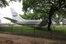 Aircraft photo of LV-WGX - Boeing 737-2P6/Adv - American Falcon Aerolineas, taken by Sandro Rota at Buenos Aires - Aeroparque Jorge Newbery (SABE / AEP / AER) in Argentina on 11 March 2017. This plane has been abandoned for years at Aeroparque, but in 2017 was moved to the northeastern part of the airport, and now lies near this tree among with two other aircraft.