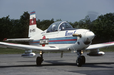 Aircraft photo of HB-HMA - Pilatus PC-7 - Patrouille Martini, taken by Alex Christie at Colmar - Meyenheim (LFSC) (closed) in France on 21 May 1989.