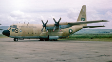 Aircraft photo of 14727 / S - Lockheed C-130E Hercules (L-382) - Pakistan - Air Force, taken by Ian Howat at Campbeltown (EGEC / CAL) in Scotland, United Kingdom on 22 June 1978. Photographed whilst taking part in Exercise NEJAT 78.