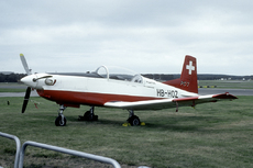 Aircraft photo of HB-HOZ - Pilatus PC-7 - Pilatus, taken by Marijn Aarts (via Joop de Groot) at Farnborough (EGLF / FAB) in England, United Kingdom in September 1978 during the Farnborough International 1978. The PC-7 prototype was basically a rebuilt Swiss AF P-3. A-871 was used for this purpose. Later this airframe became A-901 with the Swiss AF and it is now preserved in the Dübendorf museum.