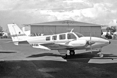 Aircraft photo of VH-ENA - Beech 58 Baron - Bill Harrison Pty. Ltd, taken by Geoff Goodall (via David Carter) at Sydney - Bankstown (YSBK / BWU) in New South Wales, Australia on 3 August 1974.