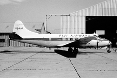 Aircraft photo of VQ-FAF - De Havilland DH.114 Heron 2D - Fiji Airways, taken by Bob Neate / Geoff Goodall at Sydney - Bankstown (YSBK / BWU) in New South Wales, Australia on 15 April 1965. Became DQ-FAF in 1971. Sold in Australia as VH-KAM in 1975.
